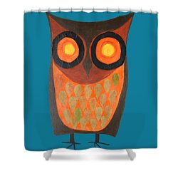 Give A Hoot Orange Owl Shower Curtain