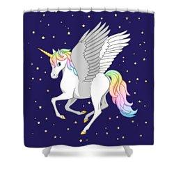 Pretty Rainbow Unicorn Flying Horse Shower Curtain