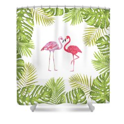 Shower Curtain featuring the painting Magical Tropicana Love Flamingos And Leaves by Georgeta Blanaru