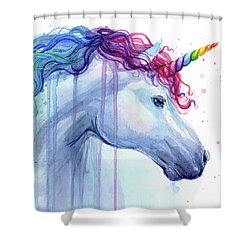 Rainbow Unicorn Watercolor Shower Curtain
