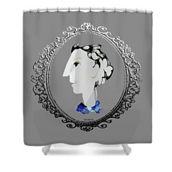 Lady With Blue Scarf Shower Curtain