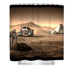 Shower Curtain featuring the digital art Valley End Cam 34 by Bryan Versteeg