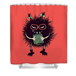 Geek Evil Bug Character Loves Reading Shower Curtain