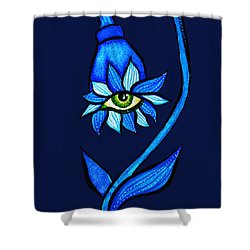 Weird Blue Staring Creepy Eye Flower Shower Curtain