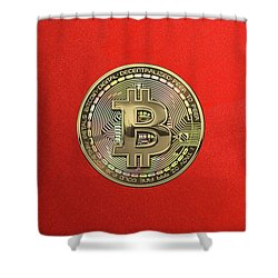 Gold Bitcoin Effigy Over Red Canvas Shower Curtain