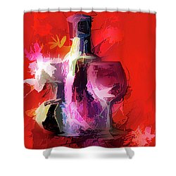 Fun Colorful Modern Wine Art   Shower Curtain