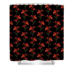Portrait Of Red Lily Flowers Shower Curtain