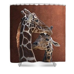 Endearing Giraffes Shower Curtain