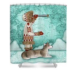 E Is For Eskimo And Explorer Shower Curtain