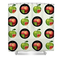 Divided Apple Pattern Shower Curtain