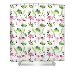 Shower Curtain featuring the painting Watercolour Tropical Beauty Flamingo Family by Georgeta Blanaru