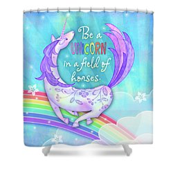 U Is For Unicorn Shower Curtain