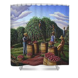 Apple Harvest - Autumn Farmers Orchard Farm Landscape - Folk Art Americana Shower Curtain