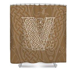 Celtic Letter V Monogram Shower Curtain