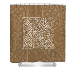 Celtic Letter R Monogram Shower Curtain