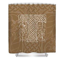 Celtic Letter T Monogram Shower Curtain