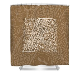Celtic Letter A Monogram Shower Curtain