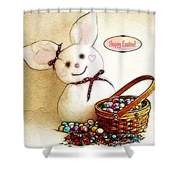 Bunny N Eggs Card Shower Curtain