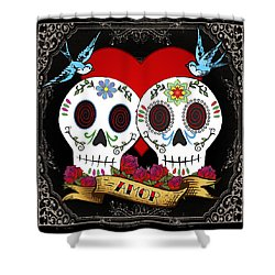 Love Skulls II Shower Curtain