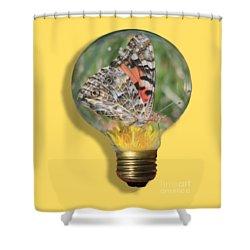 Butterfly In Lightbulb Shower Curtain