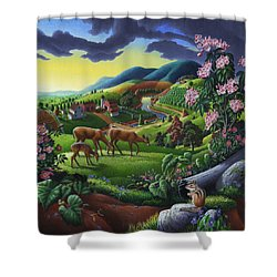 Deer Chipmunk Summer Appalachian Folk Art - Rural Country Farm Landscape - Americana  Shower Curtain