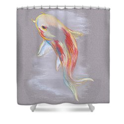 Shower Curtain featuring the pastel Koi Fish Swimming by MM Anderson