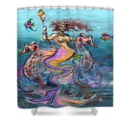 Shower Curtain featuring the painting Mermaid by Kevin Middleton