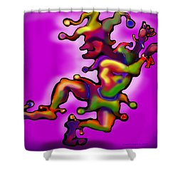 Shower Curtain featuring the painting Mardi Gras Jester by Kevin Middleton