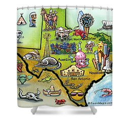 Shower Curtain featuring the digital art Texas Cartoon Map by Kevin Middleton