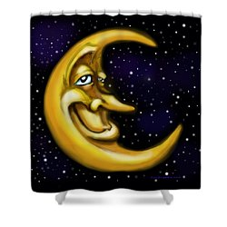 Shower Curtain featuring the painting Moon by Kevin Middleton