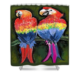 Shower Curtain featuring the painting Parrots by Kevin Middleton