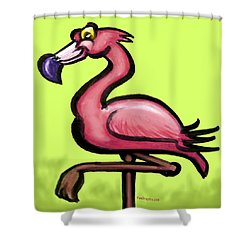 Shower Curtain featuring the painting Flamingo by Kevin Middleton