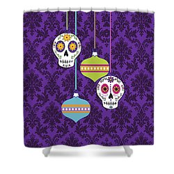 Feliz Navidad Holiday Sugar Skulls Shower Curtain by Tammy Wetzel