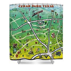 Cedar Park Texas Cartoon Map Shower Curtain