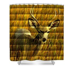 The Buck Poses Here Shower Curtain by Bill Kesler