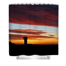 Sunrise Over Golden Spike Tower Shower Curtain
