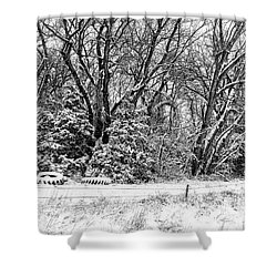 Three Tires And A Snowstorm Shower Curtain by Bill Kesler