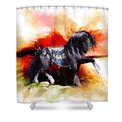Kachina Hopi Spirit Horse  Shower Curtain by Shanina Conway