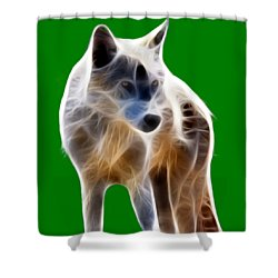 Glowing Wolf Shower Curtain by Shane Bechler