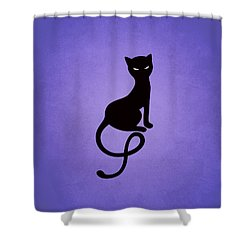 Purple Gracious Evil Black Cat Shower Curtain