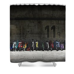 Bike Rack Shower Curtain by Cynthia Decker