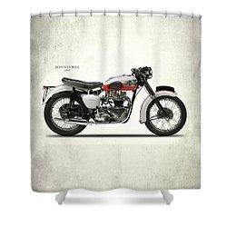 Triumph Bonneville 1959 Shower Curtain by Mark Rogan
