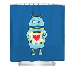 Blue Cute Clumsy Robot With Heart Shower Curtain