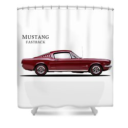 Ford Mustang Fastback 1965 Shower Curtain by Mark Rogan