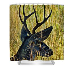 The Buck Rests Here Shower Curtain