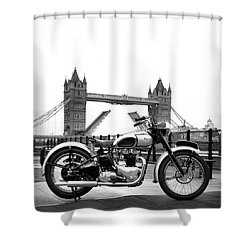 1949 Triumph T100 Shower Curtain by Mark Rogan