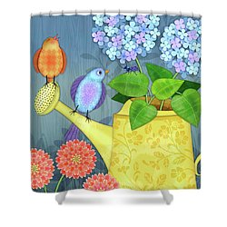 Two Birds On A Watering Can Shower Curtain