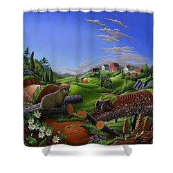 Farm Folk Art - Groundhog Spring Appalachia Landscape - Rural Country Americana - Woodchuck Shower Curtain by Walt Curlee