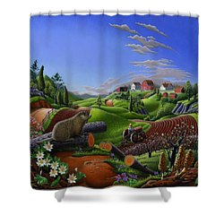 Farm Folk Art - Groundhog Spring Appalachia Landscape - Rural Country Americana - Woodchuck Shower Curtain