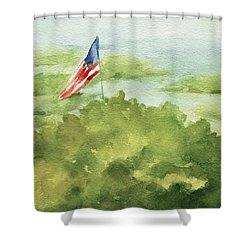Cape Cod Beach With American Flag Painting Shower Curtain
